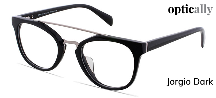 77ffc424260 Get these full-rimmed black round glasses with trendy brow-bar